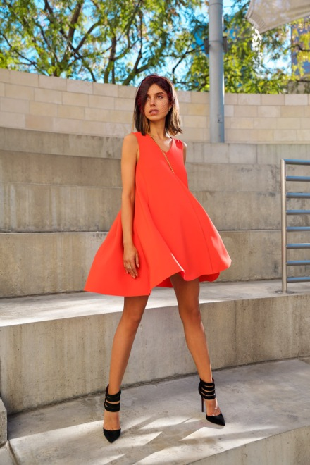 5.-peach-dress-with-black-shoes